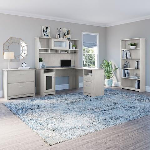 Copper Grove Daintree L Desk Set with 5-shelf Bookcase and Cabinet