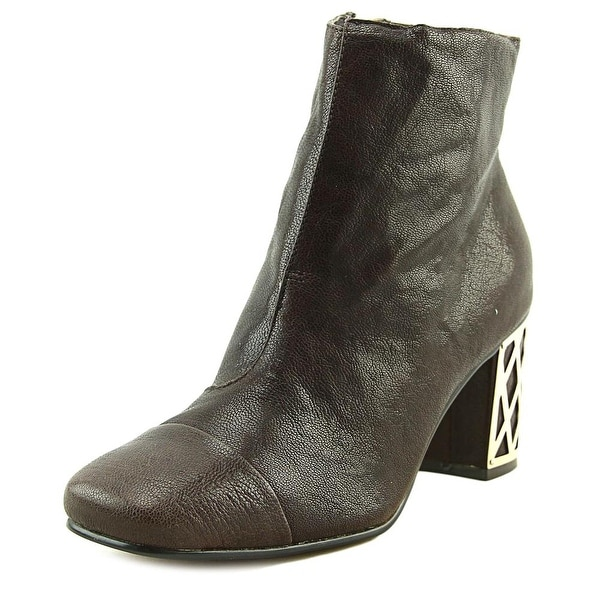 Nina Vignette Women Square Toe Leather Brown Ankle Boot