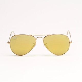 Matte Gold Metal Aviator Sunglasses With Gold Mirror Lens - Matte Gold