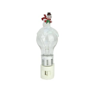 "6"" Frosted Light Bulb and Snowman Color Changing Christmas Night Light"