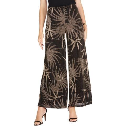 MSK Womens Petites Wide Leg Pants Metallic Textured