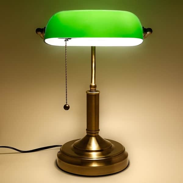 Traditional Antique Style Banker Lamp Vintage Green