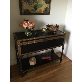 Shop The Curated Nomad Azul Travel Trunk Console/ Sofa Table   Free  Shipping Today   Overstock   21015336