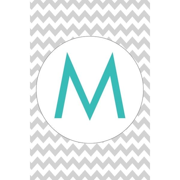 Monogram - Chevron - Gray & Teal - M (Cotton/Polyester Chef's Apron)