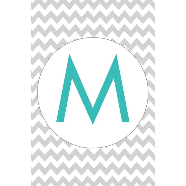 Monogram - Chevron - Gray & Teal - M (Light Switchplate Cover)