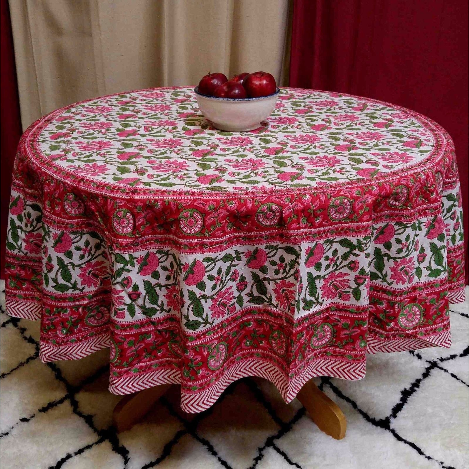 Shop Cotton Lotus Flower Block Print Round Tablecloth