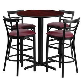 Offex 24'' Round Mahogany Laminate Table Set with Ladder Back Metal Bar Stool and Burgundy Vinyl Seat