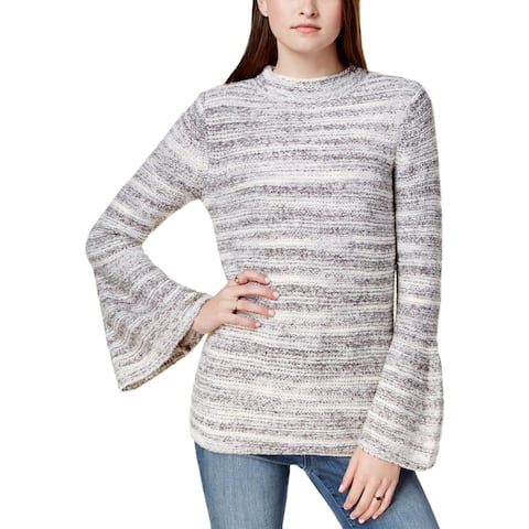 Kensie Womens Pullover Sweater Bell Sleeves Space Dye