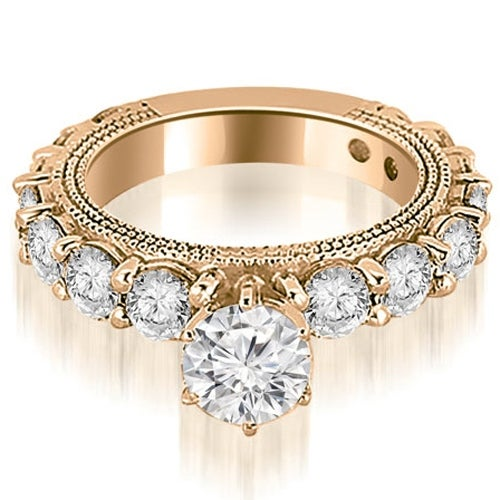 2.50 cttw. 14K Rose Gold Antique Round Cut Diamond Engagement Ring