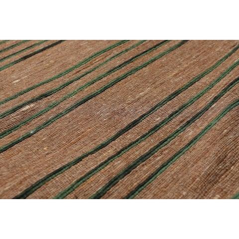 "Hand Made Brown,Green Dhurry Area Rug Polypropylene Modern & Contemporary Oriental Area Rug (5x7) - 5' x 6'6"""