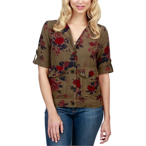 Lucky Brand Womens Floral Military Jacket, green, X-Large