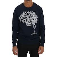 Frankie Morello Blue Cotton Crewneck Pullover Sweater