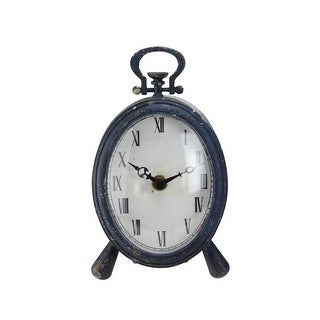 PACK OF 2 Blue Distressed Finished B/O Roman Numeral Tabletop Desk Clock