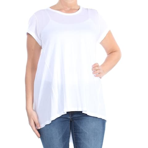 WE THE FREE Womens White Short Sleeve Crew Neck Hi-Lo Top Size: L