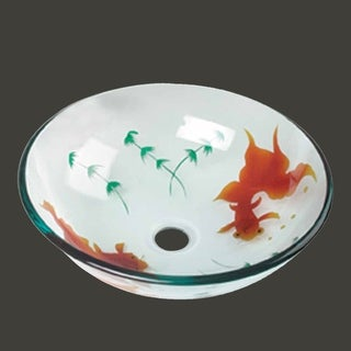 Tempered Glass Vessel Sink with Drain, Clear Single Layer Painted Koi Fish Bowl Sink
