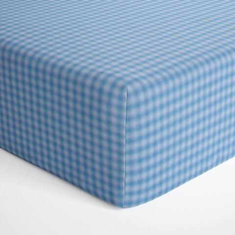 Glenna Jean Blue Gingham Fitted Crib Sheet