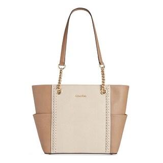 Calvin Klein Womens Laced Saffiano Tote Handbag Leather Colorblock - Medium