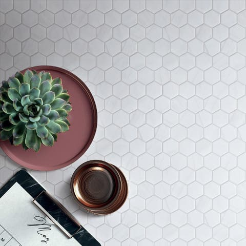 "TileGen. 2"" x 2"" Hexagon White Cararra Porcelain Mosaic in White Wall & Floor Tile (11 sheets/10.67sqft.)"