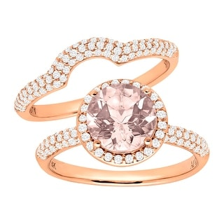 1 7/8 ct Natural Morganite & 5/8 ct Diamond Bridal Set in 14K Rose Gold