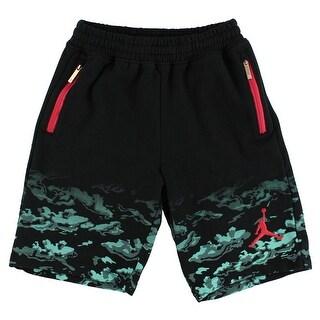 Jordan Boys Camo Clouds Shorts Black - black/light blue/crimson