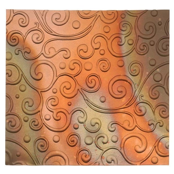 Lillypilly Copper Sheet Metal Whimsy Scroll Embossed Flamed Patina 36 Gauge - 3x3 Inch