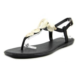 Bandolino Loocho Women Open Toe Synthetic Black Thong Sandal