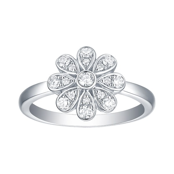 Lab Grown Diamond Cluster Flower Ring, 1/3 Ctw 14K Solid Gold by Smiling Rocks. Opens flyout.
