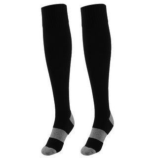 Unisex Sports Nylon Non Slip Stretch Rugby Soccer Football Long Socks Black Pair