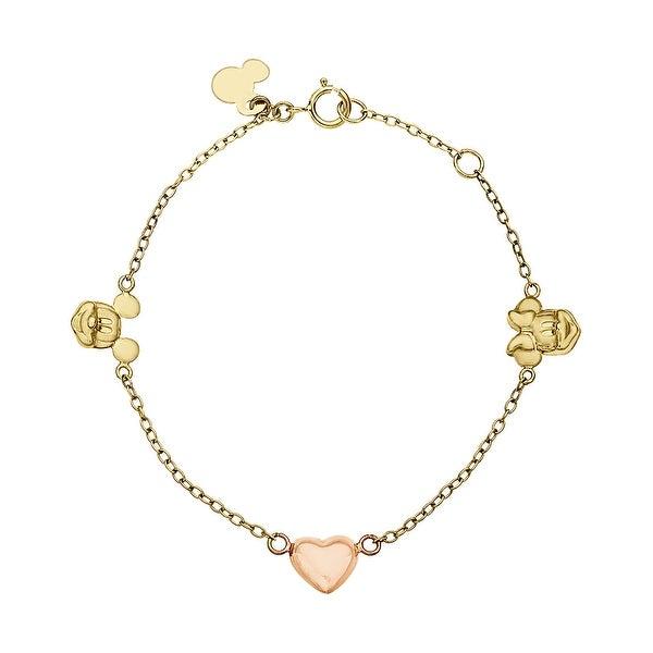 Girl's Disney's Mickey & Minnie Bracelet in 14K Two-Tone Gold