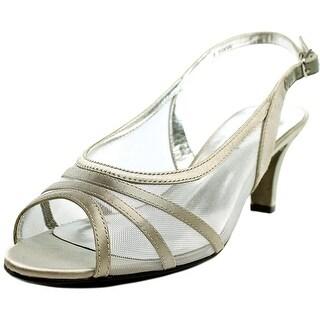 David Tate Pride Women WW Open-Toe Canvas Silver Slingback Heel