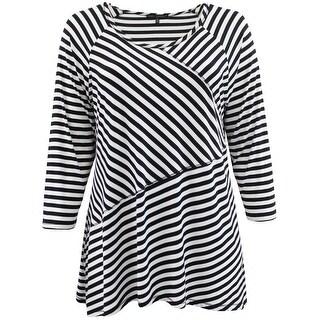 Women - Plus Size Asymmetrically Striped Design Fashion Blouse T-Shirt Knit Top Black
