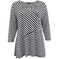 Women - Plus Size Asymmetrically Striped Design Fashion Blouse T-Shirt Knit Top Black