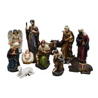 11-Piece Holy Family and Three Kings Inspirational Religious Christmas Nativity Set - brown