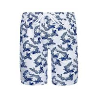 Sun Emporium Little Boys Navy White Koi Fish Sun Protective Board Shorts
