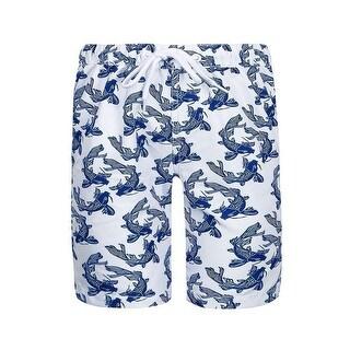 Sun Emporium Little Boys Navy White Koi Fish Sun Protective Board Shorts