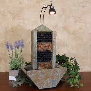Sunnydaze Towering Slate Indoor Tabletop Water Fountain - Slate - 16-Inch