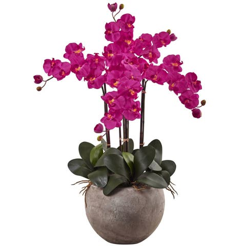 Nearly Natural Phalaenopsis Orchid Arrangement with Sand Colored Bowl
