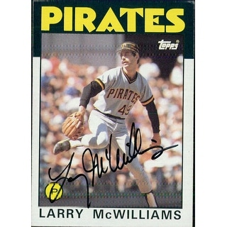Signed McWilliams Larry Pittsburgh Pirates 1986 Topps baseball Card autographed