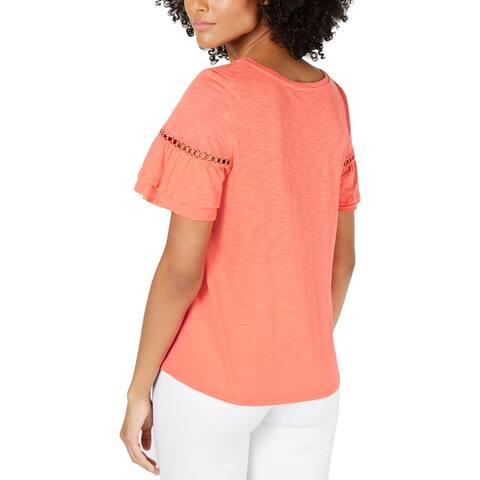 CeCe Womens Pullover Top Eyelet Ruffled - Bay Coral
