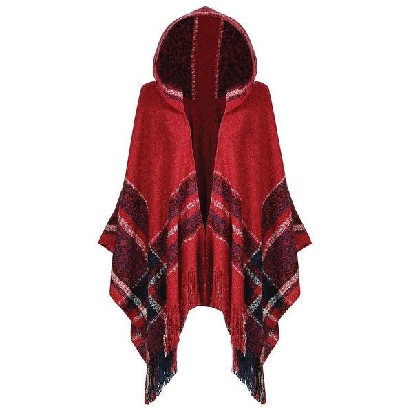 Women's Plaid Hooded Blanket Wrap Cape with Fringe - MEDIUM