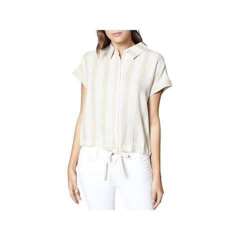 Sanctuary Womens Button-Down Top Linen Blend Striped