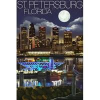 St. Petersburg, FL - Night Skyline - LP Artwork (Art Print - Multiple Sizes)