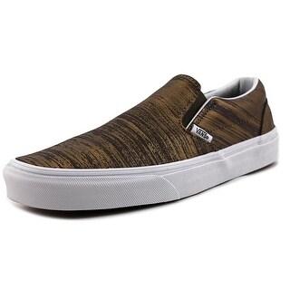Vans Classic Slip-On Men Round Toe Leather Gold Skate Shoe