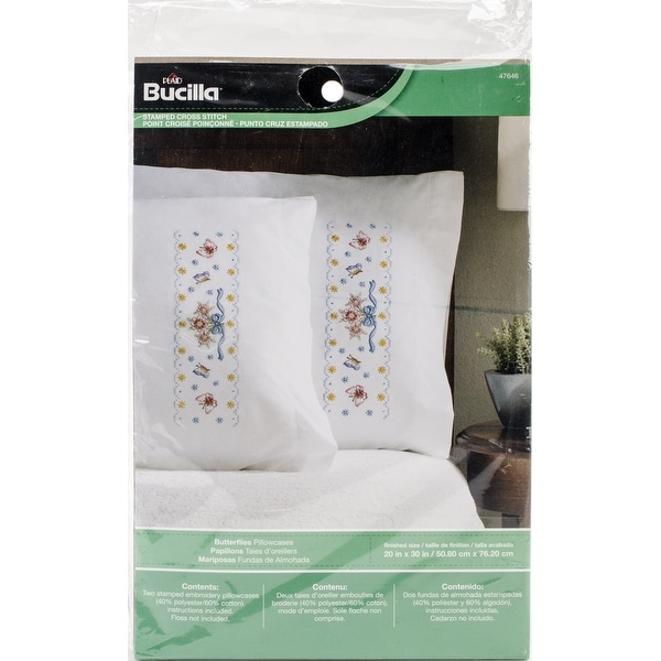 Stamped Embroidery Pillowcase Pair 20x30 Butterflies Free