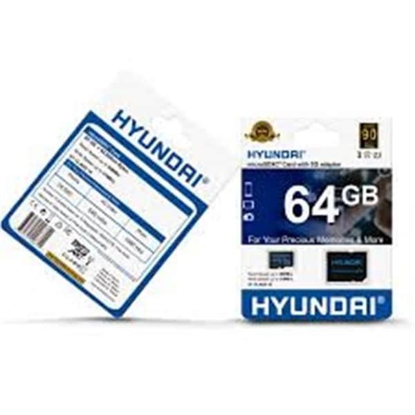 Hyundai Technology 64GB Micro SDHC Cl10 U1 Flash Card with Adapter