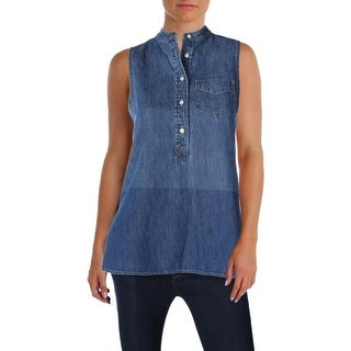 Lauren Ralph Lauren Womens Chalondra Casual Top Denim Ombre
