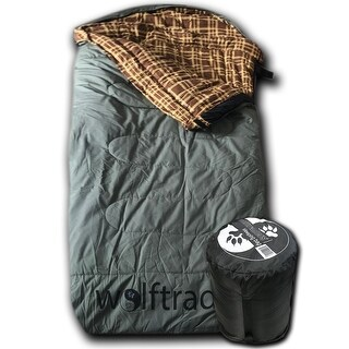 Wolftraders LoneWolf -30 Degree Fahrenheit Oversized Premium Canvas Sleeping Bag, Green/Brown