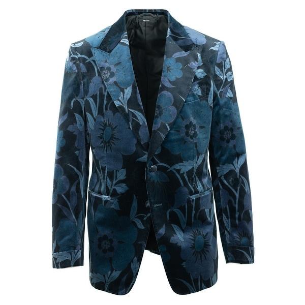 eb8839dc1fb Shop Tom Ford Mens Dark Blue Floral Velvet Shelton Jacket - 42 r ...
