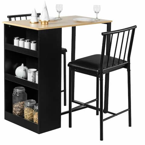 Gymax 3 Piece Counter Height Pub Dining Set Kitchen Table & Chairs w/
