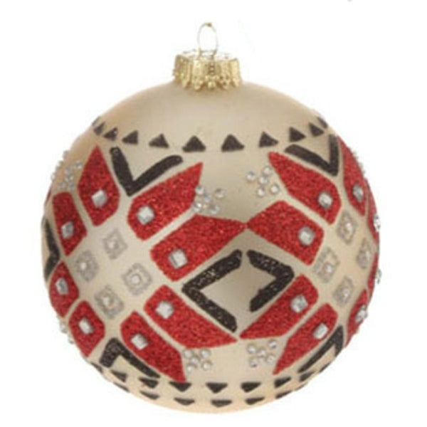 "Matte Jeweled Glittery Aztec Inspired Glass Ball Christmas Ornament 4"" (100mm) - WHITE"